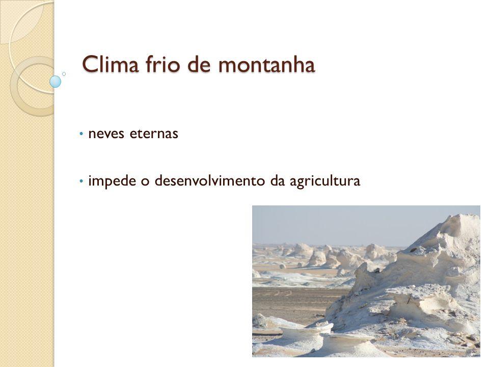 Clima frio de montanha neves eternas impede o desenvolvimento da agricultura