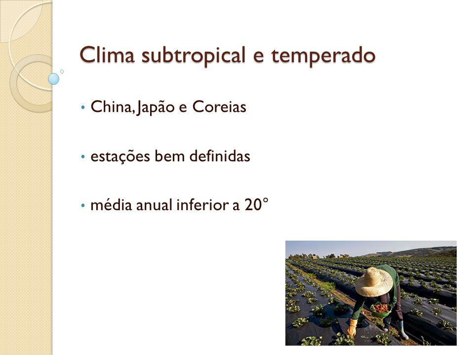 Clima subtropical e temperado China, Japão e Coreias estações bem definidas média anual inferior a 20°