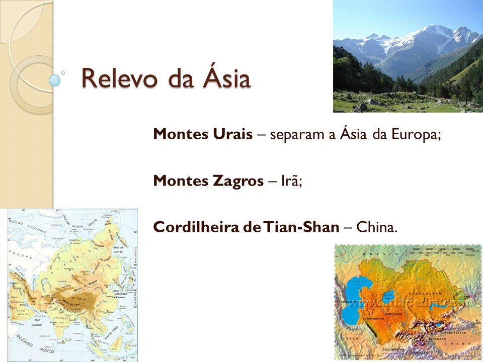 Relevo da Ásia Montes Urais – separam a Ásia da Europa; Montes Zagros – Irã; Cordilheira de Tian-Shan – China.