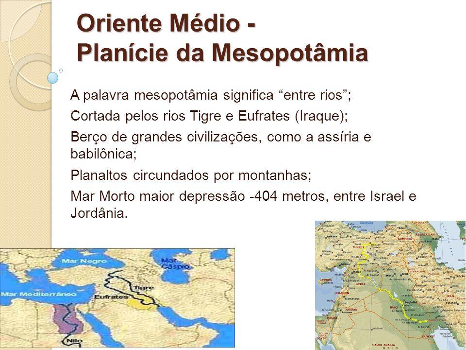 Oriente Médio - Planície da Mesopotâmia A palavra mesopotâmia significa entre rios; Cortada pelos rios Tigre e Eufrates (Iraque); Berço de grandes civ