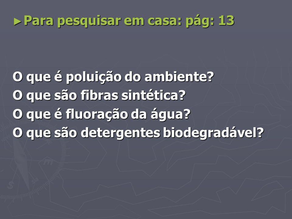 Para pesquisar em casa: pág: 13 Para pesquisar em casa: pág: 13 O que é poluição do ambiente? O que são fibras sintética? O que é fluoração da água? O