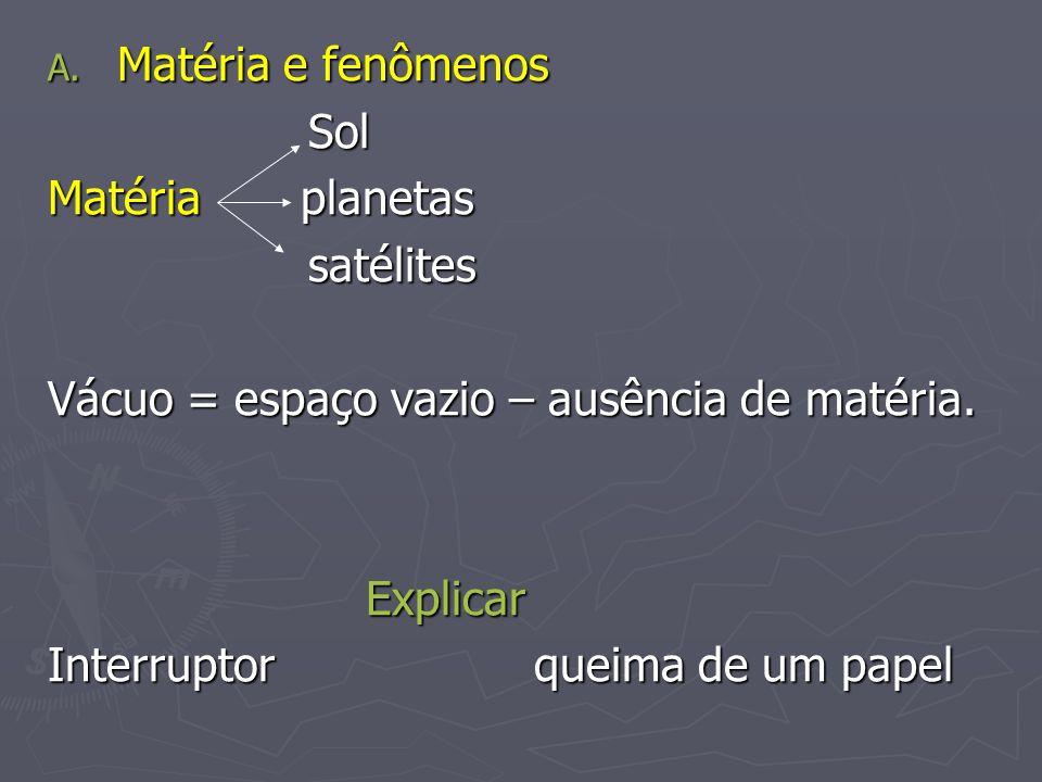 A. Matéria e fenômenos Sol Sol Matéria planetas satélites satélites Vácuo = espaço vazio – ausência de matéria. Explicar Explicar Interruptor queima d