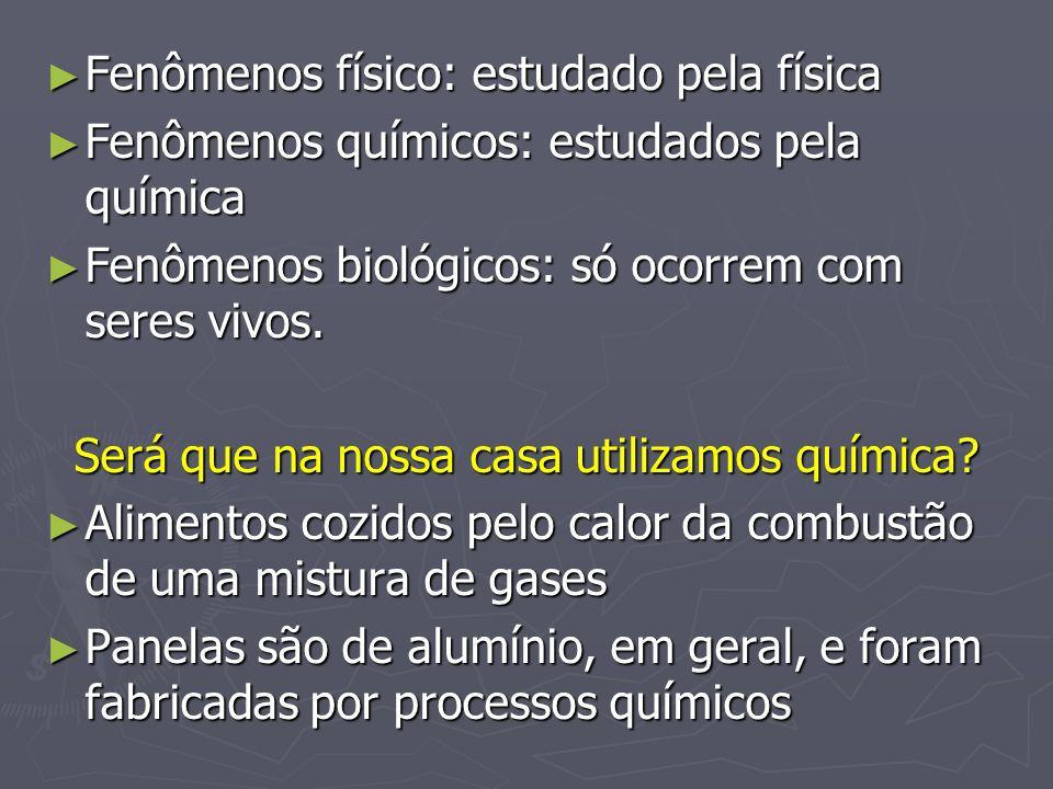 Fenômenos físico: estudado pela física Fenômenos físico: estudado pela física Fenômenos químicos: estudados pela química Fenômenos químicos: estudados