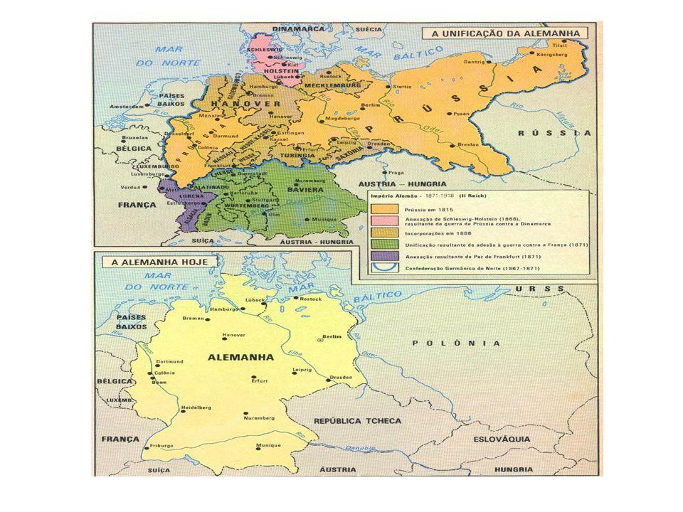 A Guerra de Unificação Os maiores obstáculos para a unificação se encontravam nos Estados do Sul que ainda estavam subordinados a Áustria.