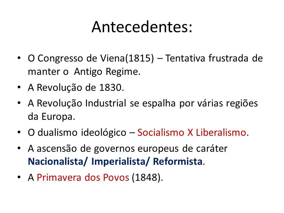 Unificação Italiana Após o Congresso de Viena a Itália passou a ter uma estrutura política bastante dividida: – Reino Piemontês/ Veneza-Lombardia/ Estados Pontifícios.