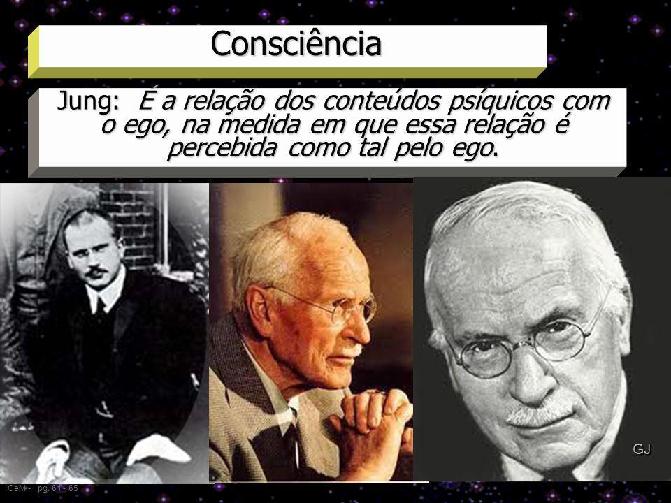 Consciência CeM - pg. 61 - 65 Jung: É a relação dos conteúdos psíquicos com o ego, na medida em que essa relação é percebida como tal pelo ego. Expres