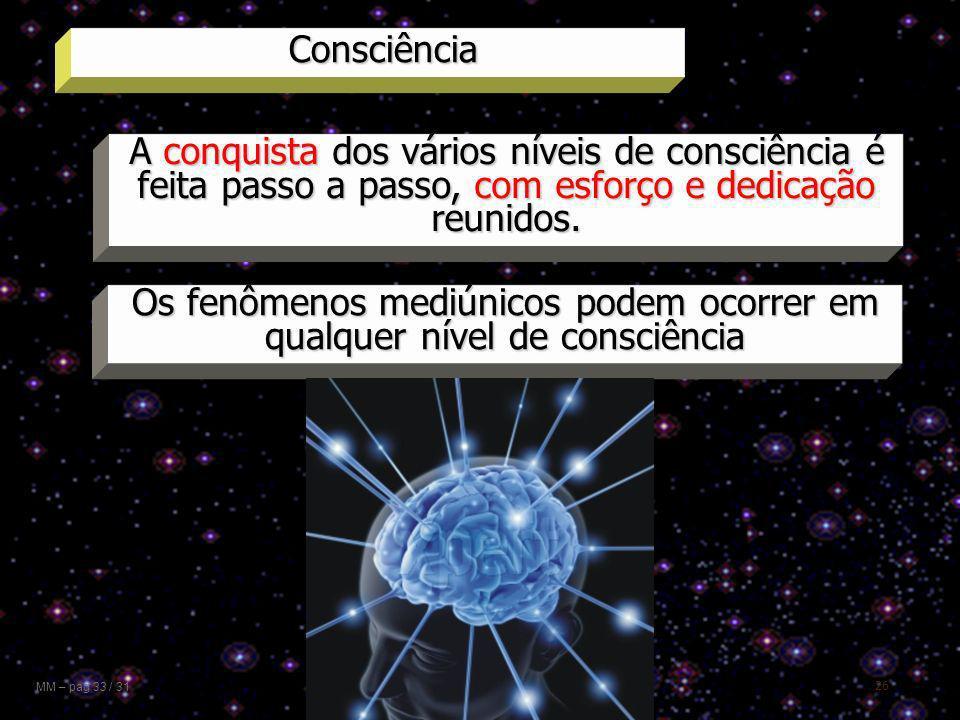 26 Consciência MM – pag 33 / 31 A conquista dos vários níveis de consciência é feita passo a passo, com esforço e dedicação reunidos. Os fenômenos med
