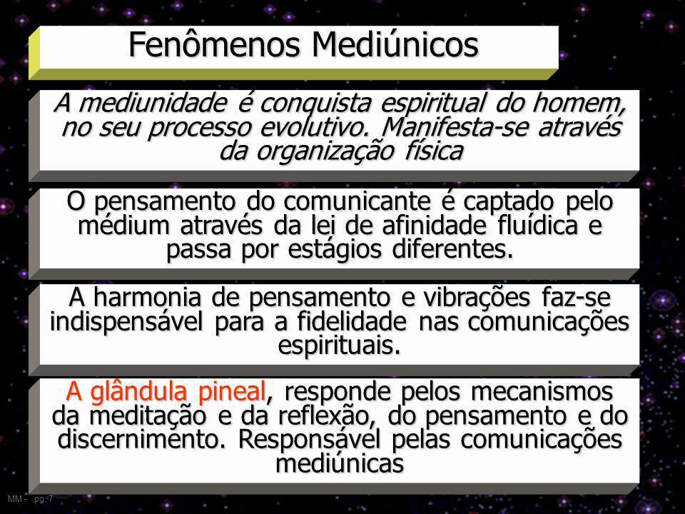 Fenômenos Mediúnicos MM - pg. 7 A mediunidade é conquista espiritual do homem, no seu processo evolutivo. Manifesta-se através da organização física O