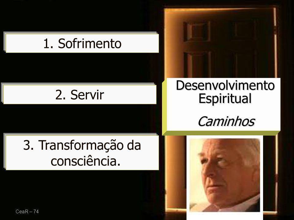 3. Transformação da consciência. CeaR – 74 Desenvolvimento Espiritual Caminhos 1. Sofrimento 2. Servir