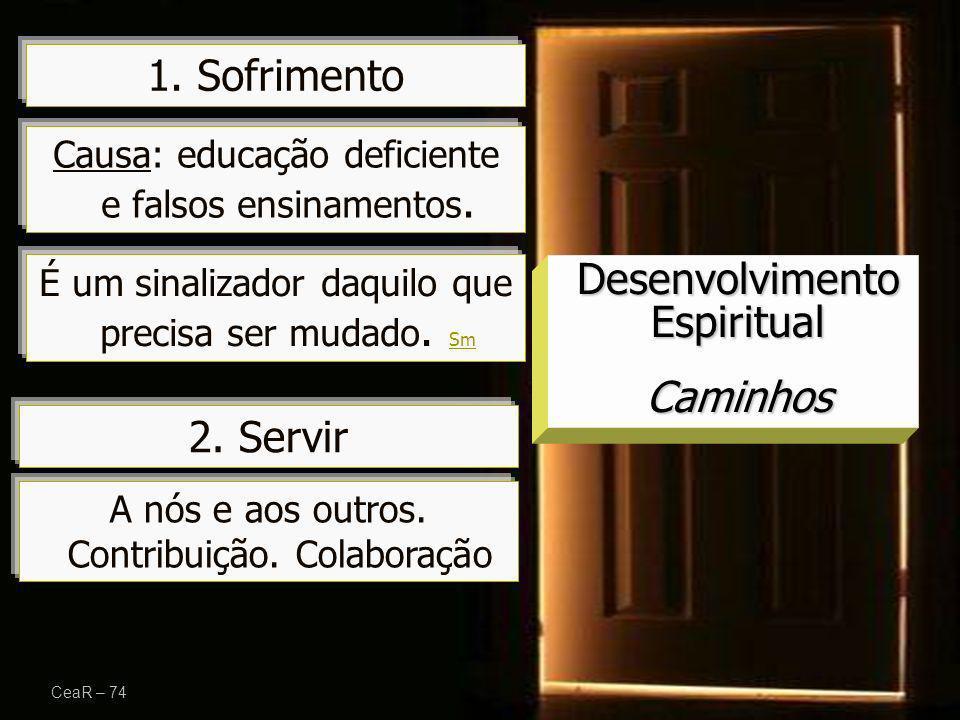 1. Sofrimento CeaR – 74 Desenvolvimento Espiritual Caminhos 2. Servir Causa: educação deficiente e falsos ensinamentos. A nós e aos outros. Contribuiç