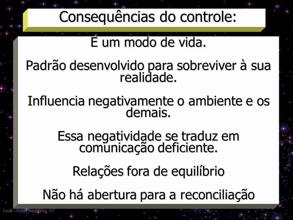 Consequências do controle: CeaR – Robert Happé pag. 137 É um modo de vida. Padrão desenvolvido para sobreviver à sua realidade. Influencia negativamen