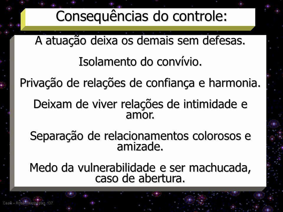 Consequências do controle: CeaR – Robert Happé pag. 137 A atuação deixa os demais sem defesas. Isolamento do convívio. Privação de relações de confian