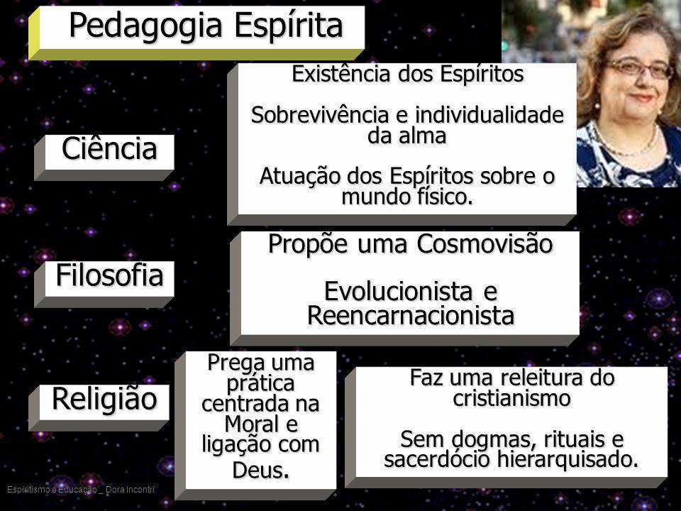 Pedagogia Espírita Espiritismo e Educação _ Dora Incontri Ciência Filosofia Propõe uma Cosmovisão Evolucionista e Reencarnacionista Religião Prega uma