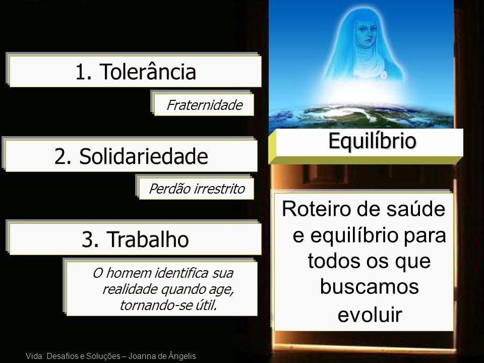 3. Trabalho Vida: Desafios e Soluções – Joanna de Ângelis 1. Tolerância 2. Solidariedade Fraternidade Perdão irrestrito O homem identifica sua realida