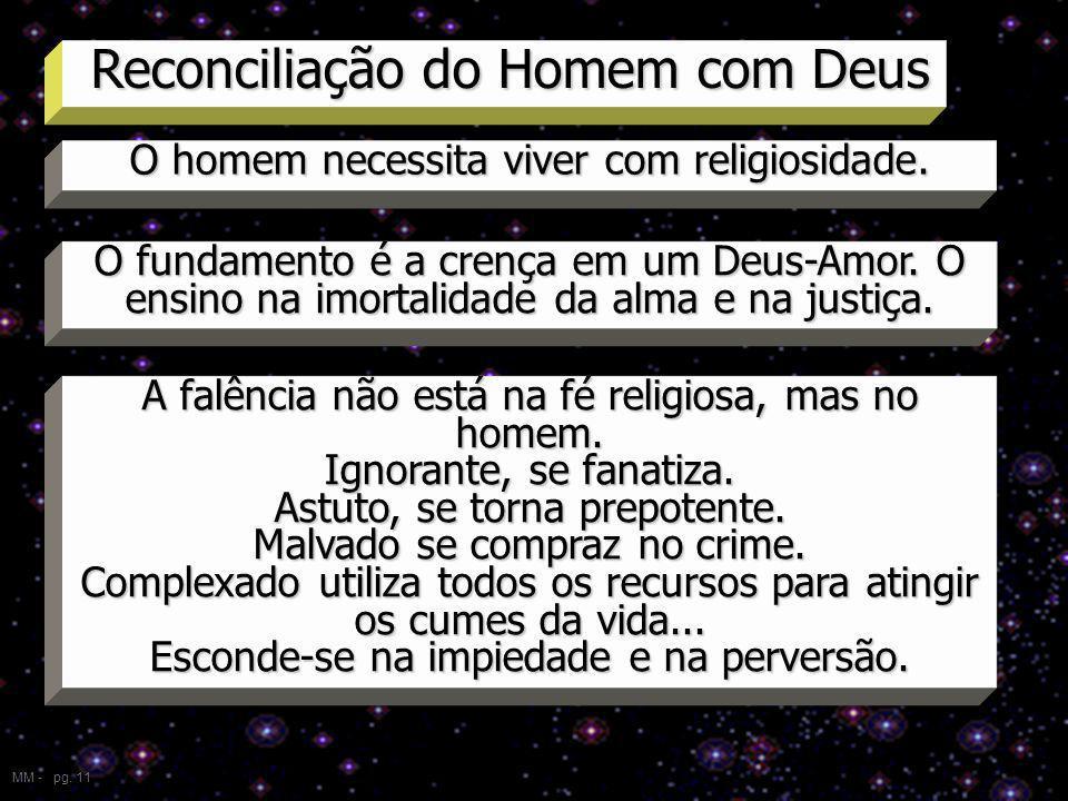 Reconciliação do Homem com Deus MM - pg. 11 O homem necessita viver com religiosidade. O fundamento é a crença em um Deus-Amor. O ensino na imortalida