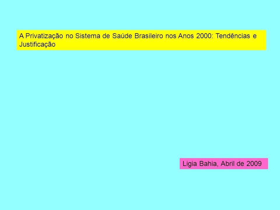 A Privatização no Sistema de Saúde Brasileiro nos Anos 2000: Tendências e Justificação Ligia Bahia, Abril de 2009