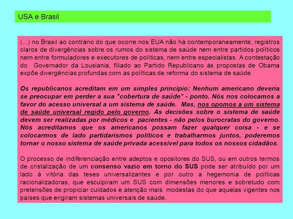 (...) no Brasil ao contrário do que ocorre nos EUA não há contemporaneamente, registros claros de divergências sobre os rumos do sistema de saúde nem