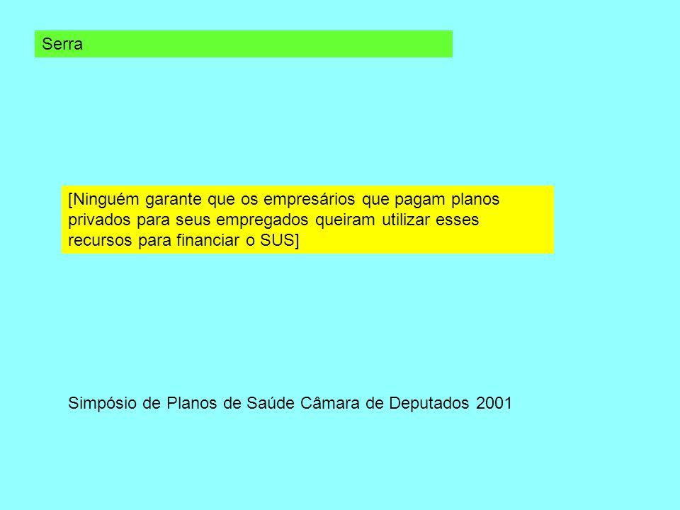 Serra [Ninguém garante que os empresários que pagam planos privados para seus empregados queiram utilizar esses recursos para financiar o SUS] Simpósi