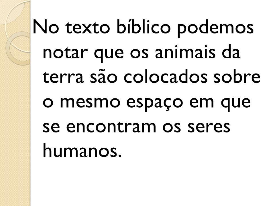No texto bíblico podemos notar que os animais da terra são colocados sobre o mesmo espaço em que se encontram os seres humanos.