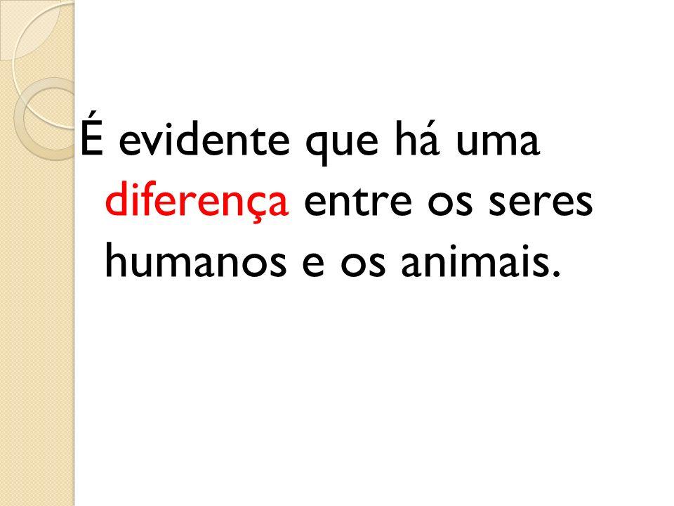É evidente que há uma diferença entre os seres humanos e os animais.