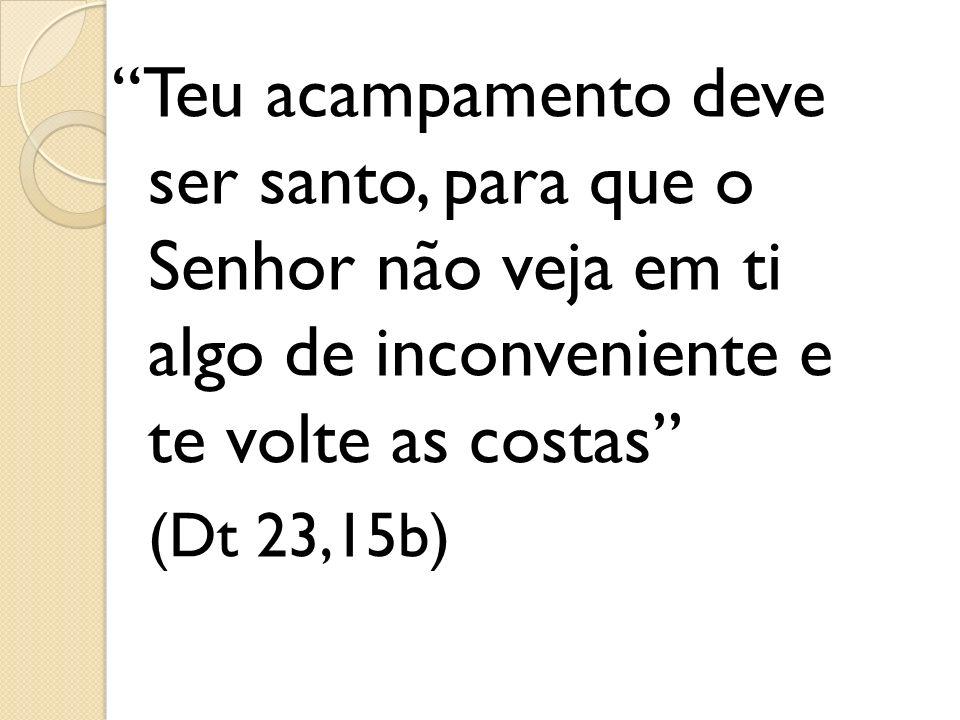 Teu acampamento deve ser santo, para que o Senhor não veja em ti algo de inconveniente e te volte as costas (Dt 23,15b)