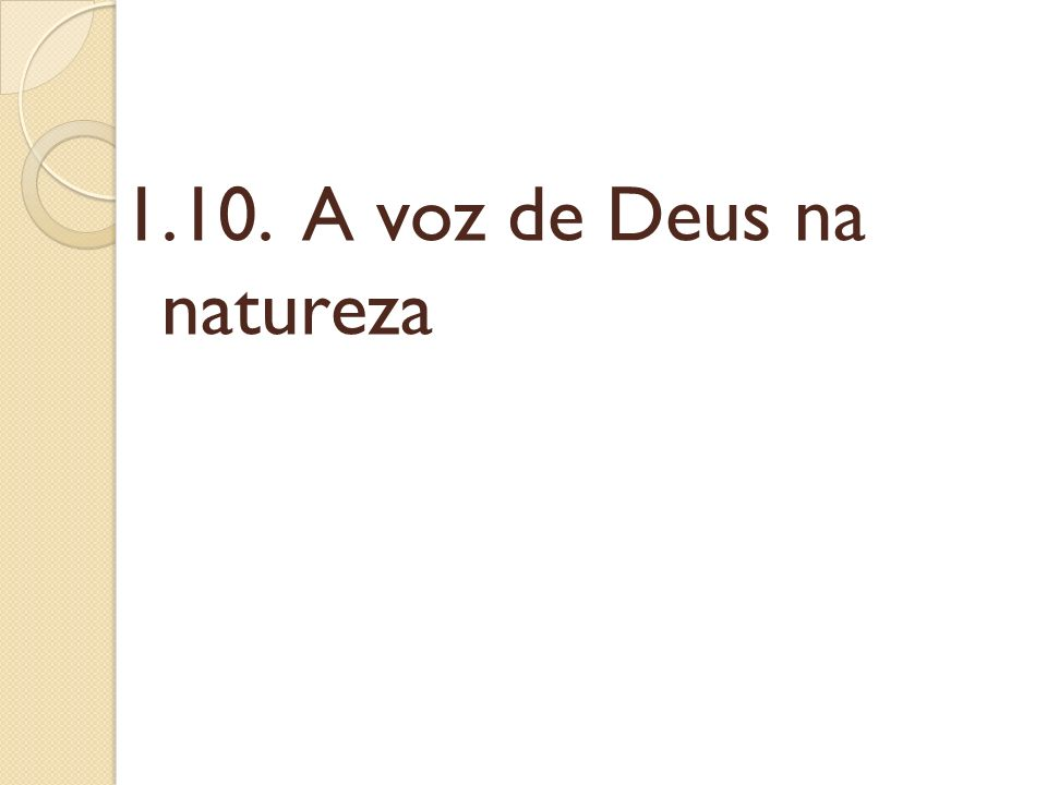 1.10. A voz de Deus na natureza