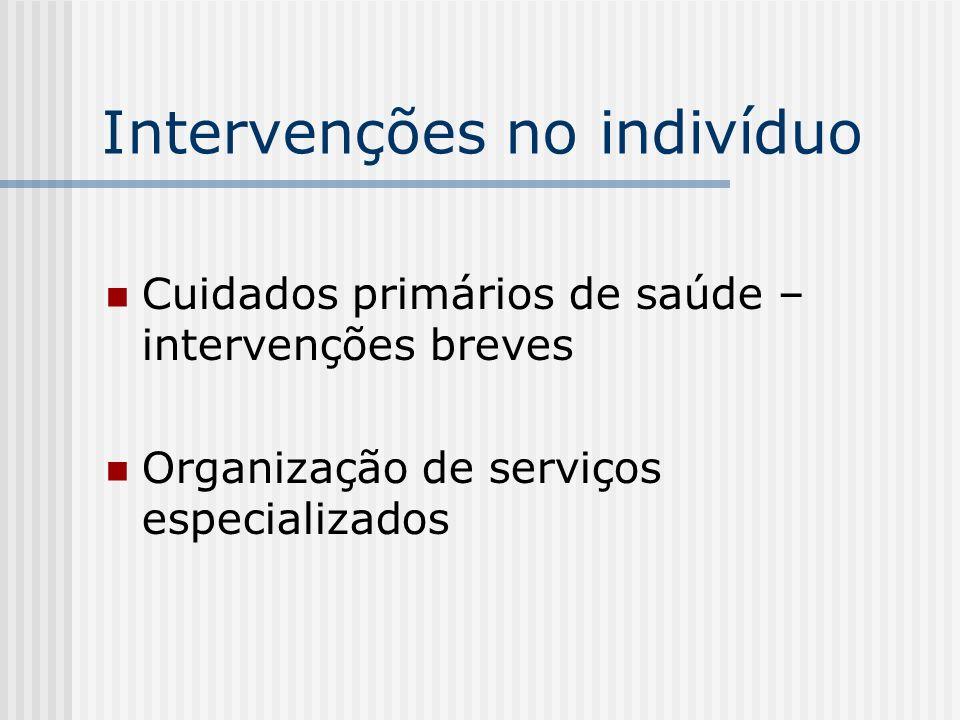 Intervenções no indivíduo Cuidados primários de saúde – intervenções breves Organização de serviços especializados