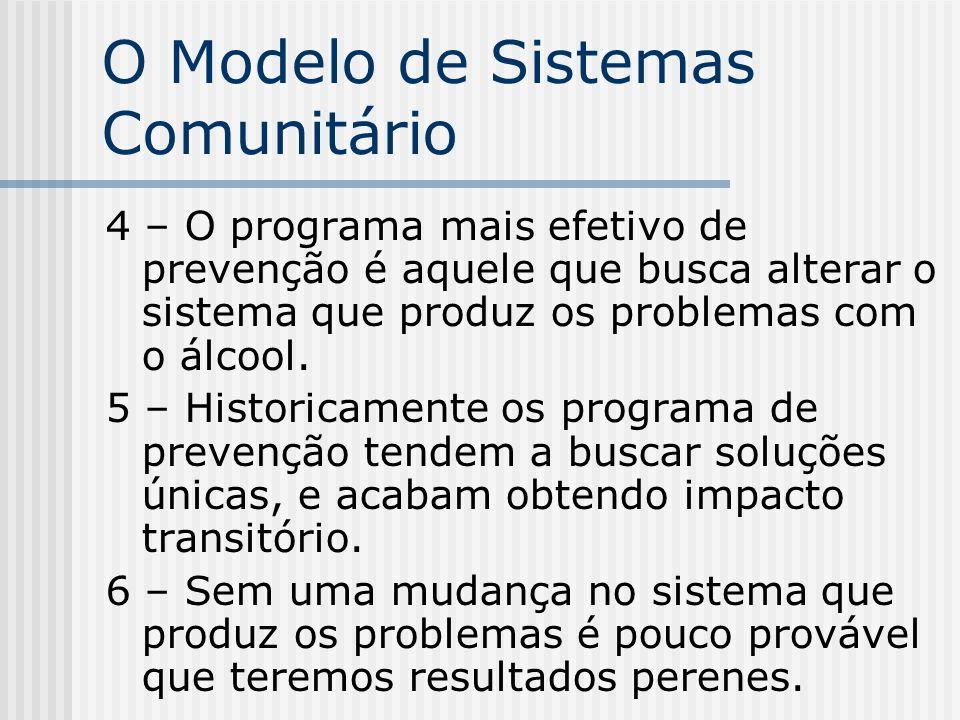 O Modelo de Sistemas Comunitário 4 – O programa mais efetivo de prevenção é aquele que busca alterar o sistema que produz os problemas com o álcool. 5