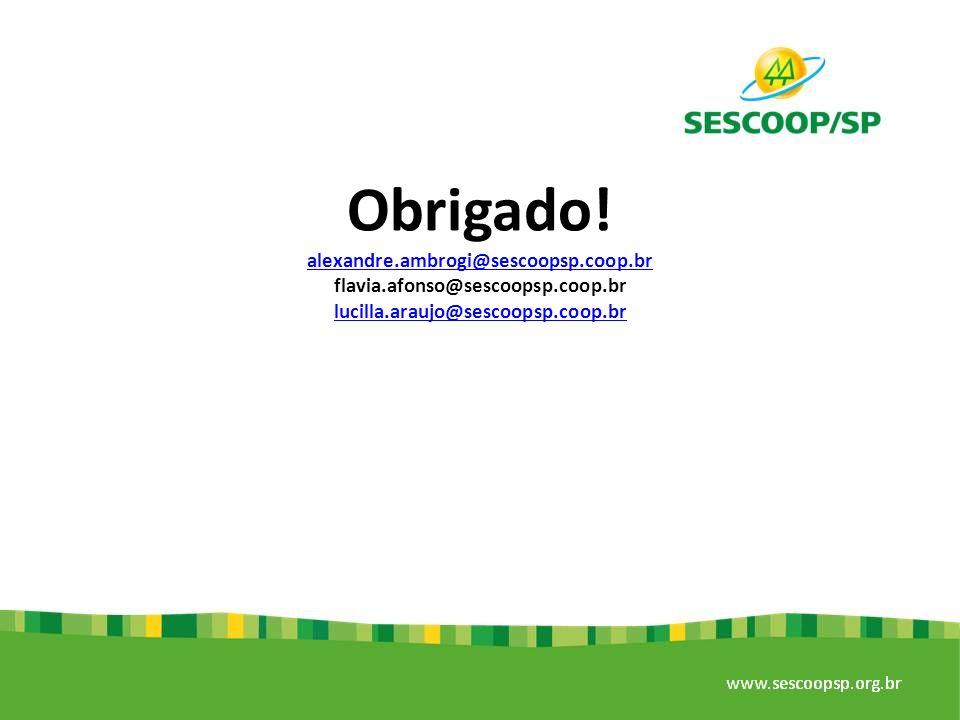 Obrigado! alexandre.ambrogi@sescoopsp.coop.br flavia.afonso@sescoopsp.coop.br lucilla.araujo@sescoopsp.coop.br