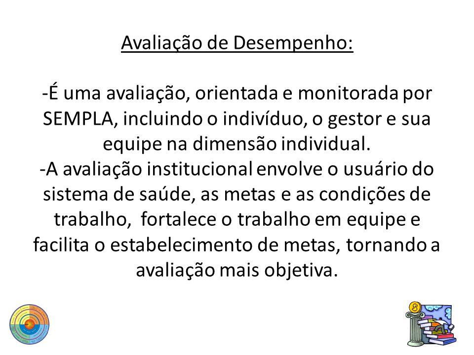 Avaliação de Desempenho: -É uma avaliação, orientada e monitorada por SEMPLA, incluindo o indivíduo, o gestor e sua equipe na dimensão individual. -A