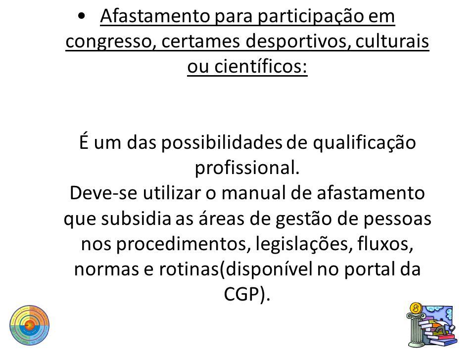 Afastamento para participação em congresso, certames desportivos, culturais ou científicos: É um das possibilidades de qualificação profissional. Deve
