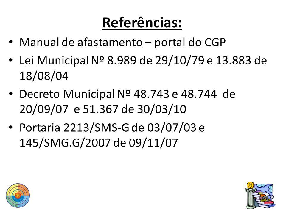 Referências: Manual de afastamento – portal do CGP Lei Municipal Nº 8.989 de 29/10/79 e 13.883 de 18/08/04 Decreto Municipal Nº 48.743 e 48.744 de 20/