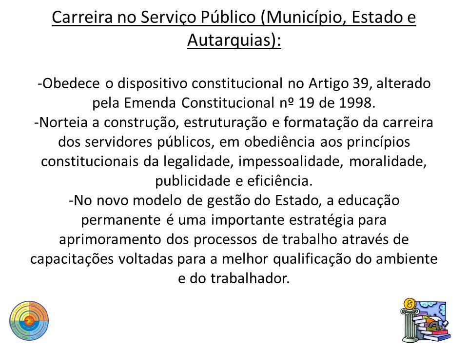 Carreira no Serviço Público (Município, Estado e Autarquias): -Obedece o dispositivo constitucional no Artigo 39, alterado pela Emenda Constitucional