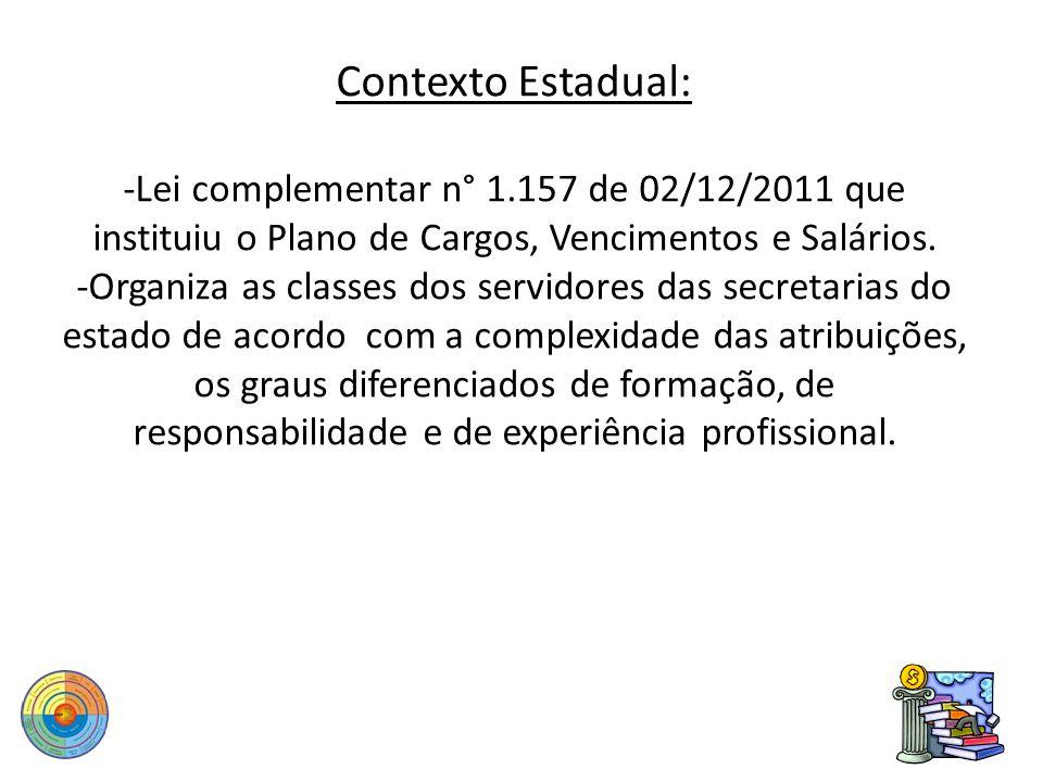 Contexto Estadual: -Lei complementar n° 1.157 de 02/12/2011 que instituiu o Plano de Cargos, Vencimentos e Salários. -Organiza as classes dos servidor