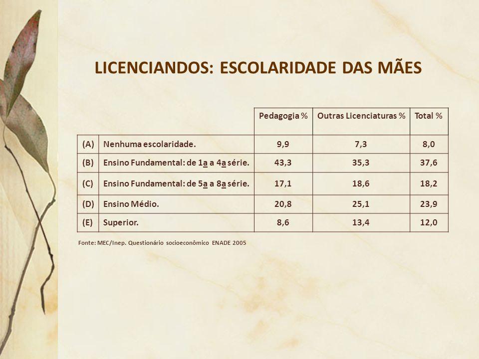 LICENCIANDOS: ESCOLARIDADE DAS MÃES Fonte: MEC/Inep. Questionário socioeconômico ENADE 2005 Pedagogia %Outras Licenciaturas %Total % (A)Nenhuma escola
