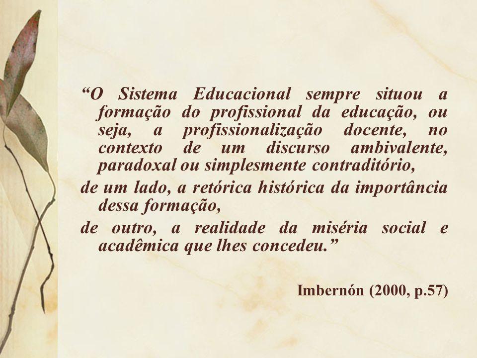 O Sistema Educacional sempre situou a formação do profissional da educação, ou seja, a profissionalização docente, no contexto de um discurso ambivale