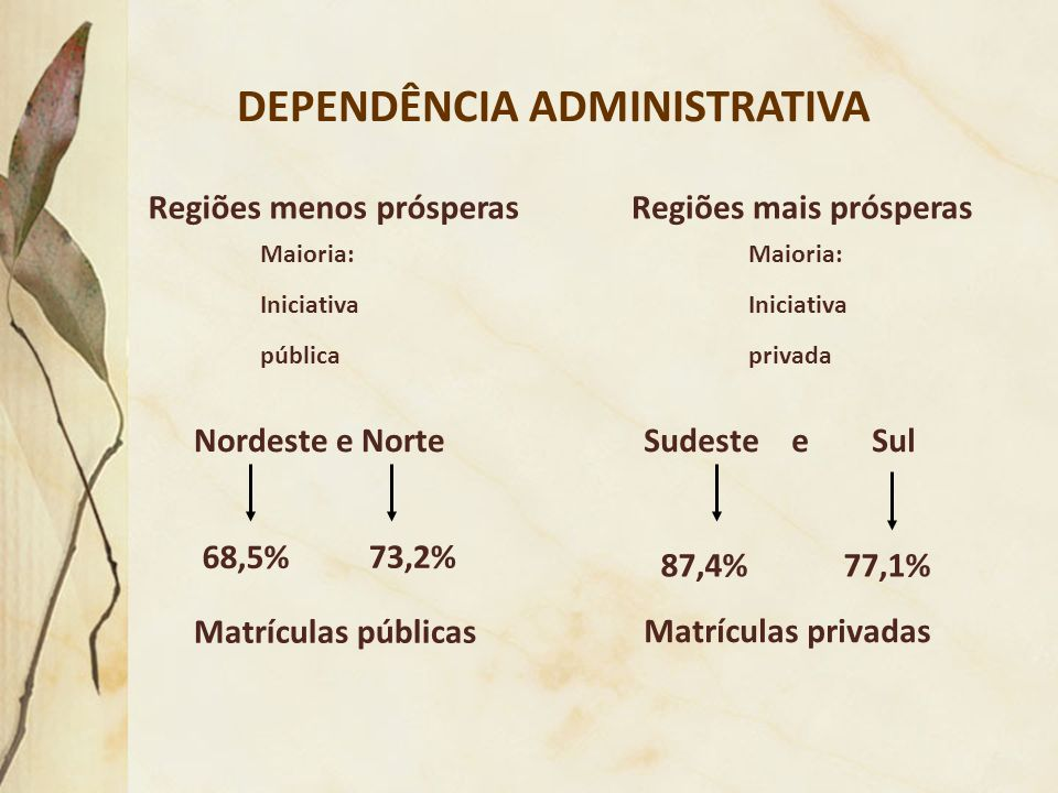 DEPENDÊNCIA ADMINISTRATIVA Sudeste e Sul Matrículas privadas Nordeste e Norte 68,5% 73,2% Matrículas públicas Regiões menos prósperas Maioria: Iniciat