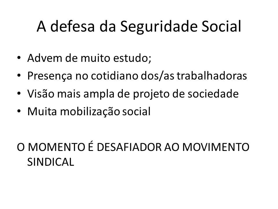 A defesa da Seguridade Social Advem de muito estudo; Presença no cotidiano dos/as trabalhadoras Visão mais ampla de projeto de sociedade Muita mobiliz