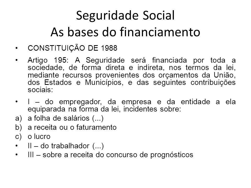 Seguridade Social As bases do financiamento CONSTITUIÇÃO DE 1988 Artigo 195: A Seguridade será financiada por toda a sociedade, de forma direta e indi