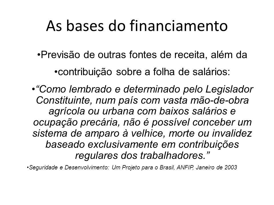 As bases do financiamento Previsão de outras fontes de receita, além da contribuição sobre a folha de salários: Como lembrado e determinado pelo Legis