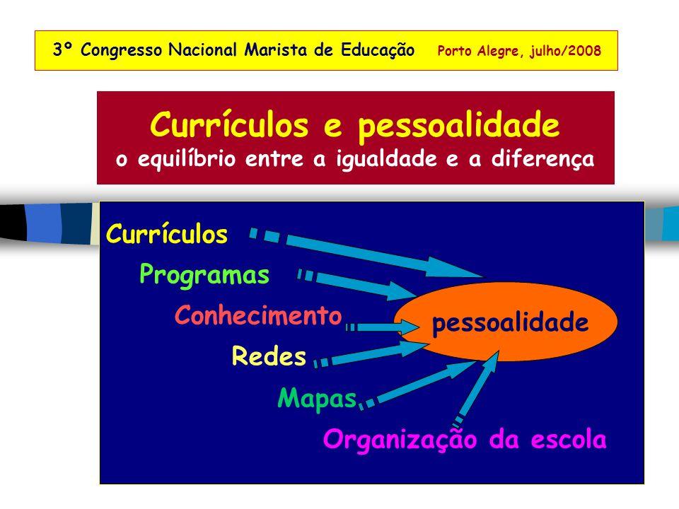 Currículos Programas Conhecimento Redes Mapas Organização da escola Currículos e pessoalidade o equilíbrio entre a igualdade e a diferença 3º Congresso Nacional Marista de Educação Porto Alegre, julho/2008 pessoalidade