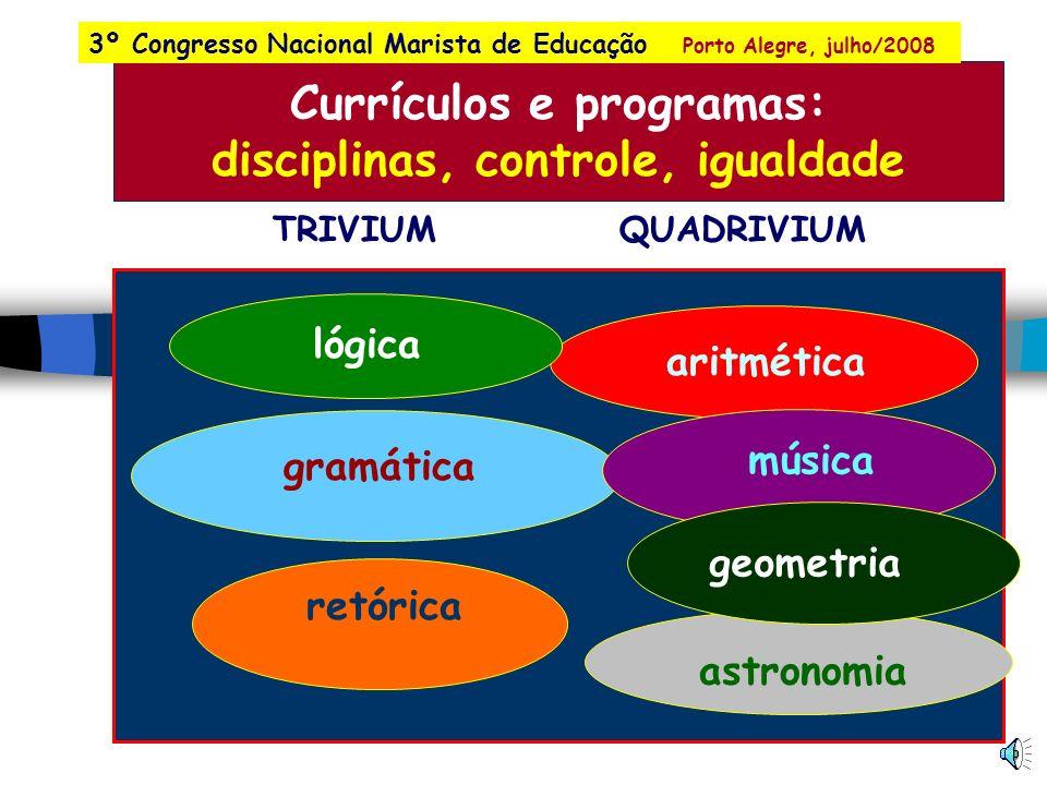 Currículos Programas Conhecimento Redes Mapas Organização da escola Currículos e pessoalidade o equilíbrio entre a igualdade e a diferença 3º Congress