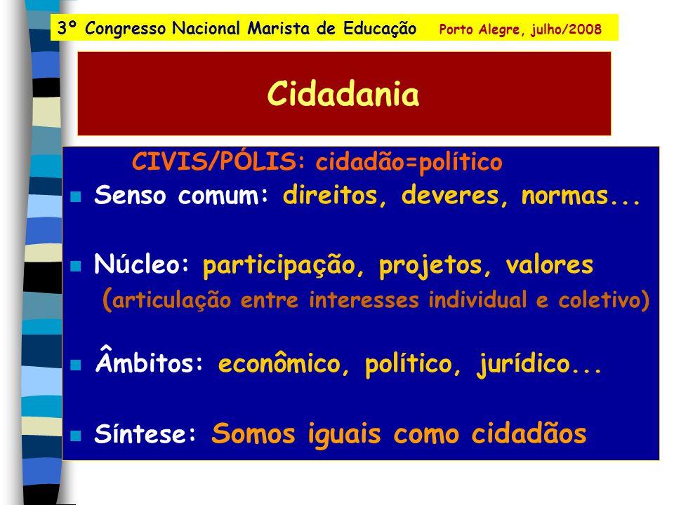 Cidadania CIVIS/P Ó LIS: cidadão=pol í tico n Senso comum: direitos, deveres, normas...