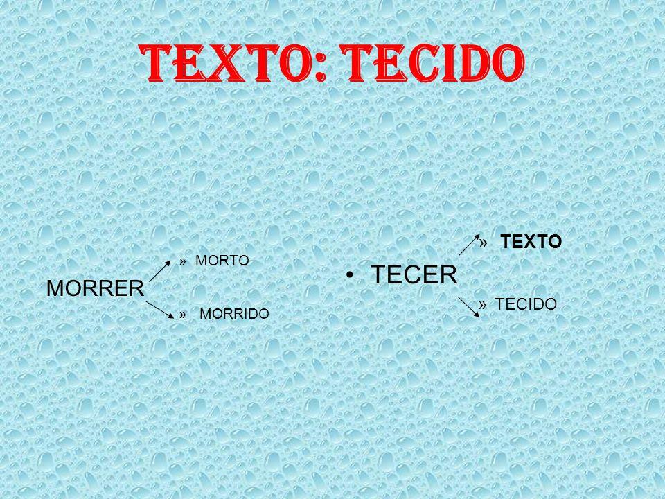 TEXTO: TECIDO »MORTO MORRER » MORRIDO » TEXTO TECER »TECIDO