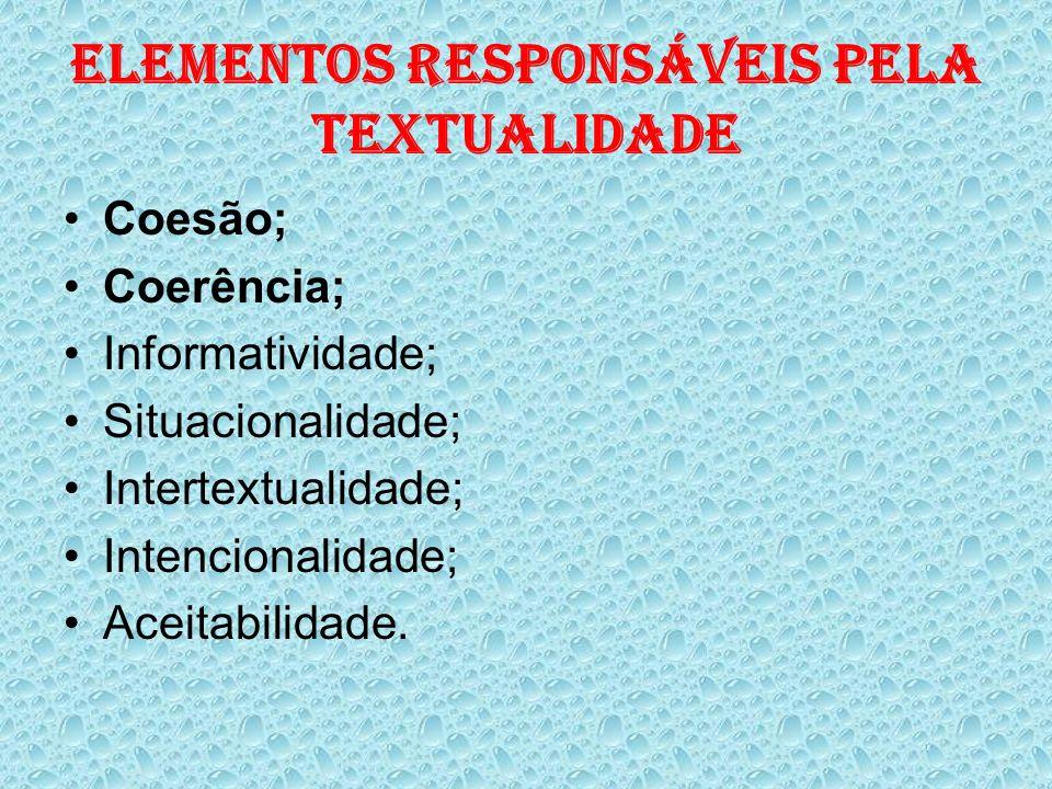 ELEMENTOS RESPONSÁVEIS PELA TEXTUALIDADE Coesão; Coerência; Informatividade; Situacionalidade; Intertextualidade; Intencionalidade; Aceitabilidade.