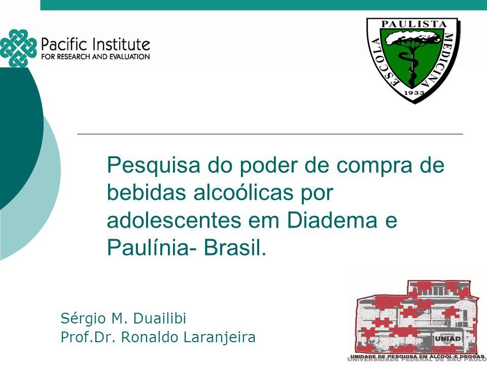 Pesquisa do poder de compra de bebidas alcoólicas por adolescentes em Diadema e Paulínia- Brasil. Sérgio M. Duailibi Prof.Dr. Ronaldo Laranjeira