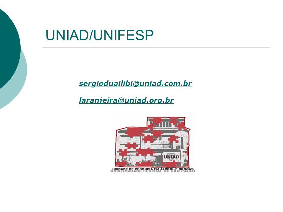 UNIAD/UNIFESP sergioduailibi@uniad.com.br laranjeira@uniad.org.br