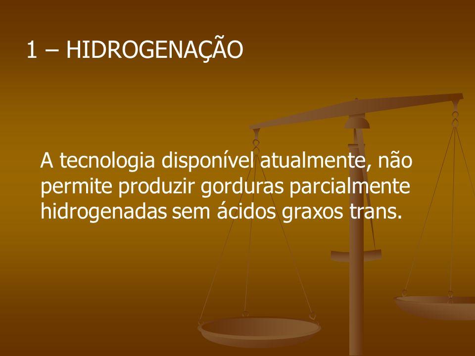 1 – HIDROGENAÇÃO A tecnologia disponível atualmente, não permite produzir gorduras parcialmente hidrogenadas sem ácidos graxos trans.
