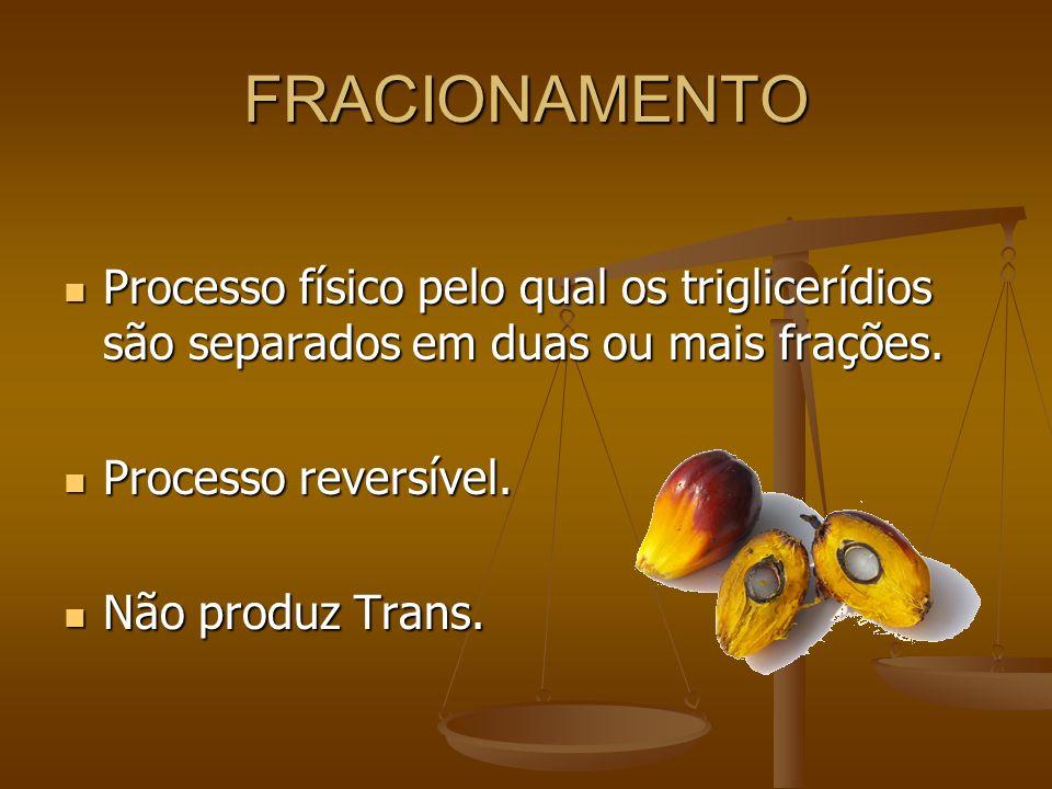 FRACIONAMENTO Processo físico pelo qual os triglicerídios são separados em duas ou mais frações. Processo físico pelo qual os triglicerídios são separ