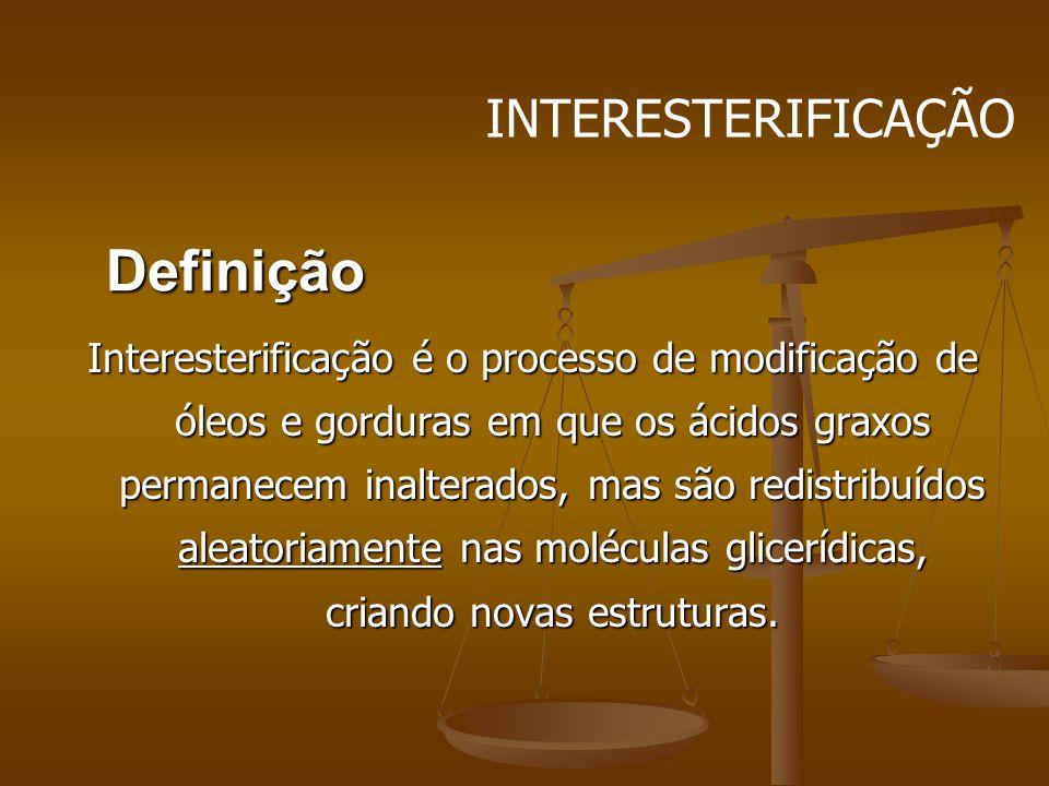 Definição Interesterificação é o processo de modificação de óleos e gorduras em que os ácidos graxos permanecem inalterados, mas são redistribuídos al
